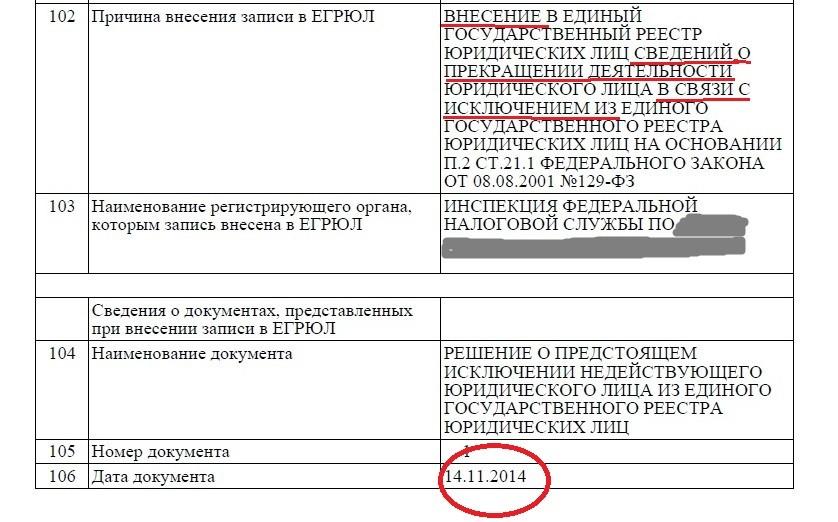 Выписка из ЕГРЮЛ по мошеннической ООО.